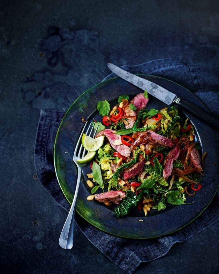 Seared Asian-style beef and stir-fried savoy cabbage