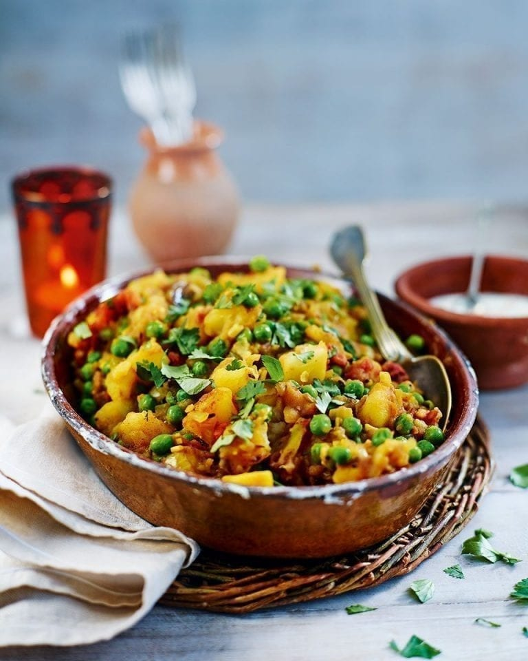 Spiced potatoes and peas