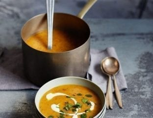 Warming sweet potato and ginger soup