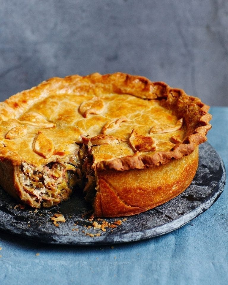 Ham hock, sausage and cider raised pie