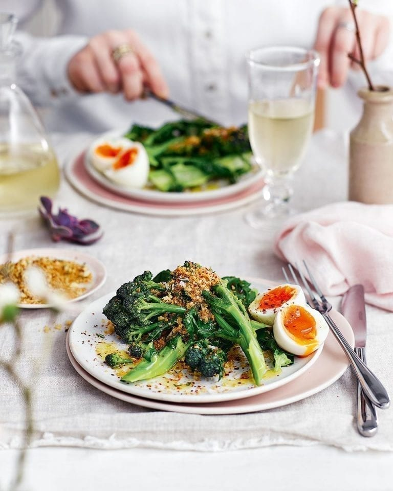 Purple sprouting broccoli with soft-boiled egg and crisp rosemary breadcrumbs