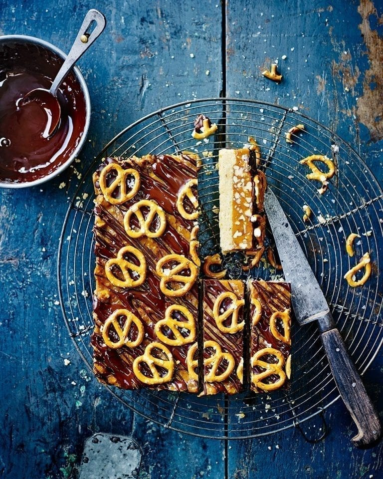 Edd Kimber's pecan and pretzel salted caramel bars
