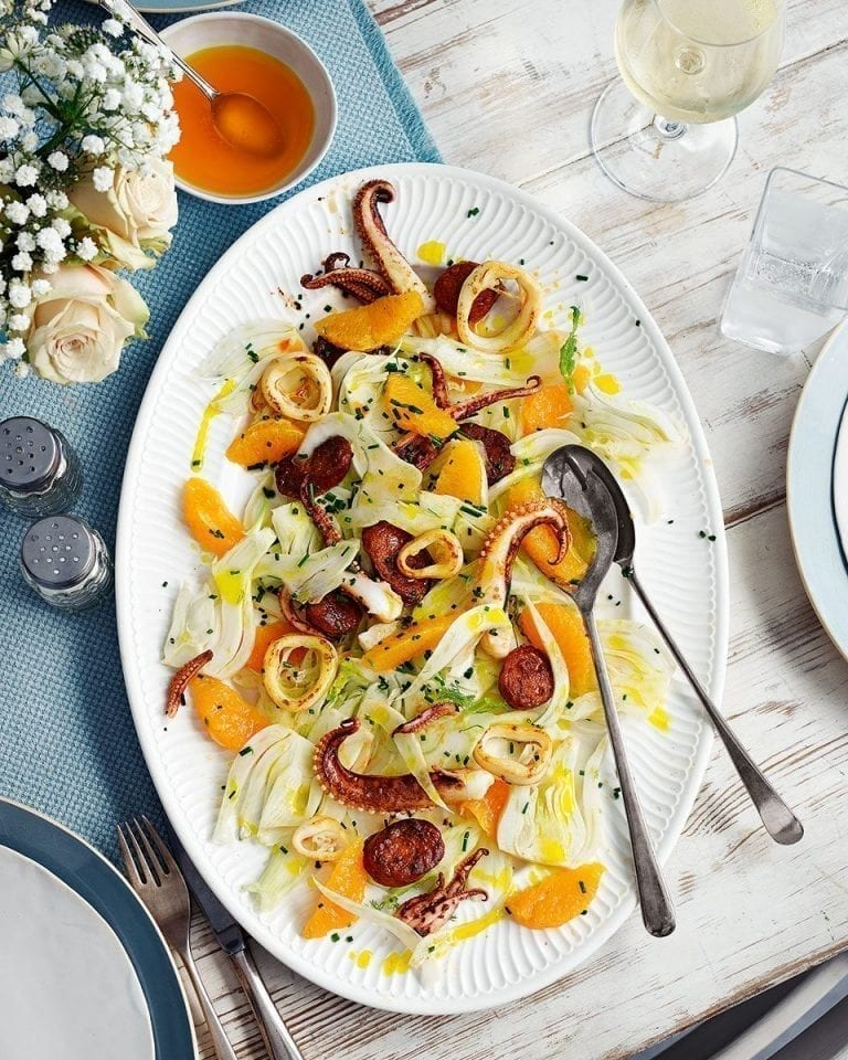 Squid, fennel and chorizo salad with orange oil