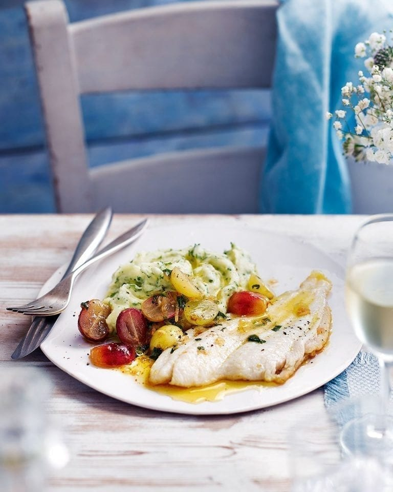 Megrim sole with grape dressing and roast garlic and potato purée