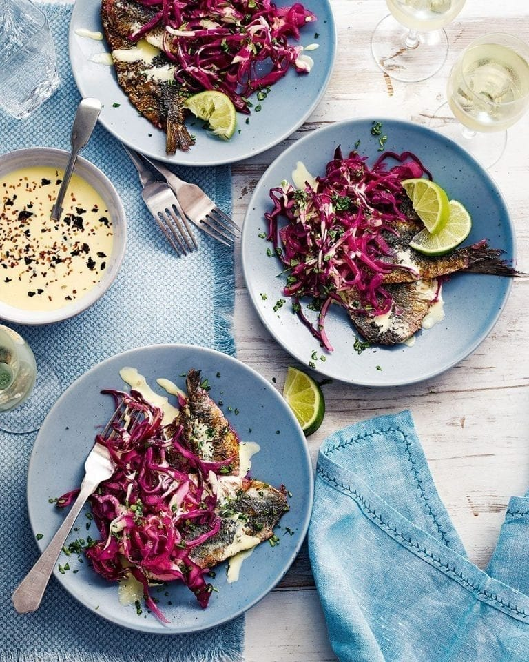 Soused sardines with red cabbage and seaweed salad cream