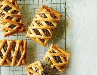 Greek cheese and veg lattice tarts