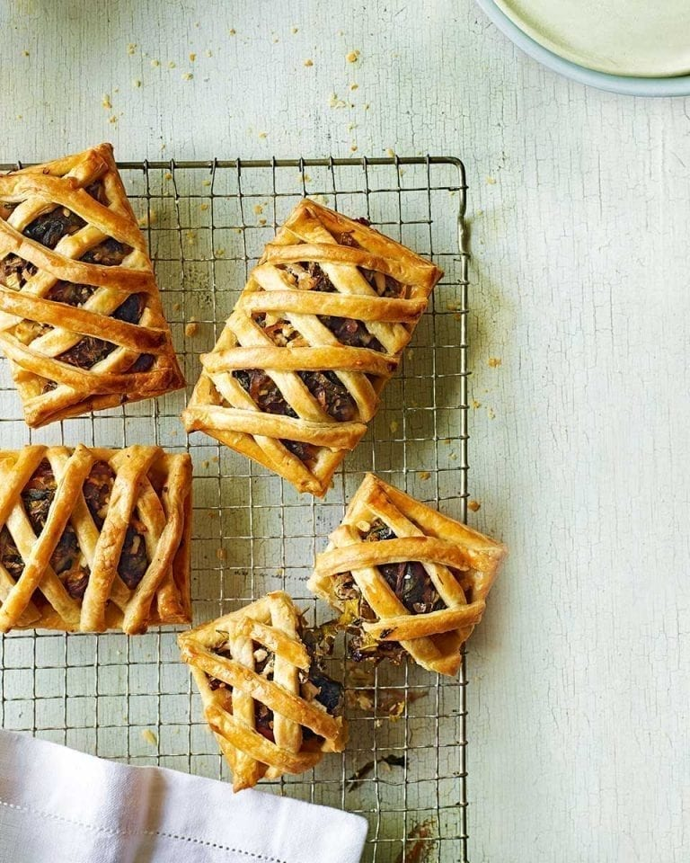 Greek cheese and veg lattice tarts