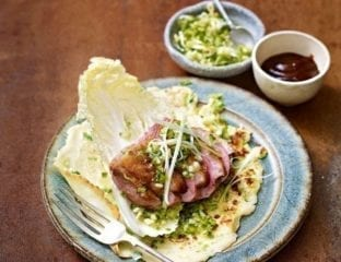 Duck pancakes with quick-pickled spring onions