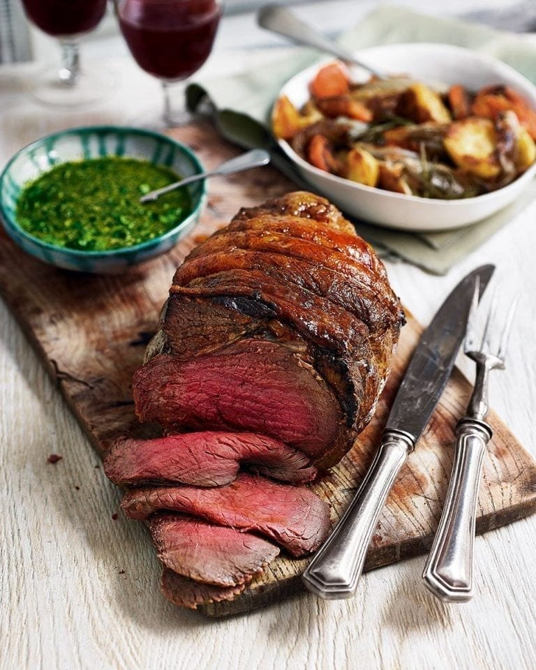 Beef rump with salsa verde and sherry-roast root vegetables