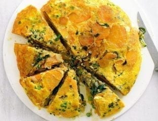 Quick spring green, sweet potato and chilli frittata