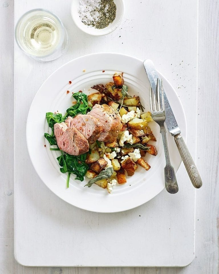 Easy pork tenderloin with roasted feta, rosemary, sage and olive oil potatoes
