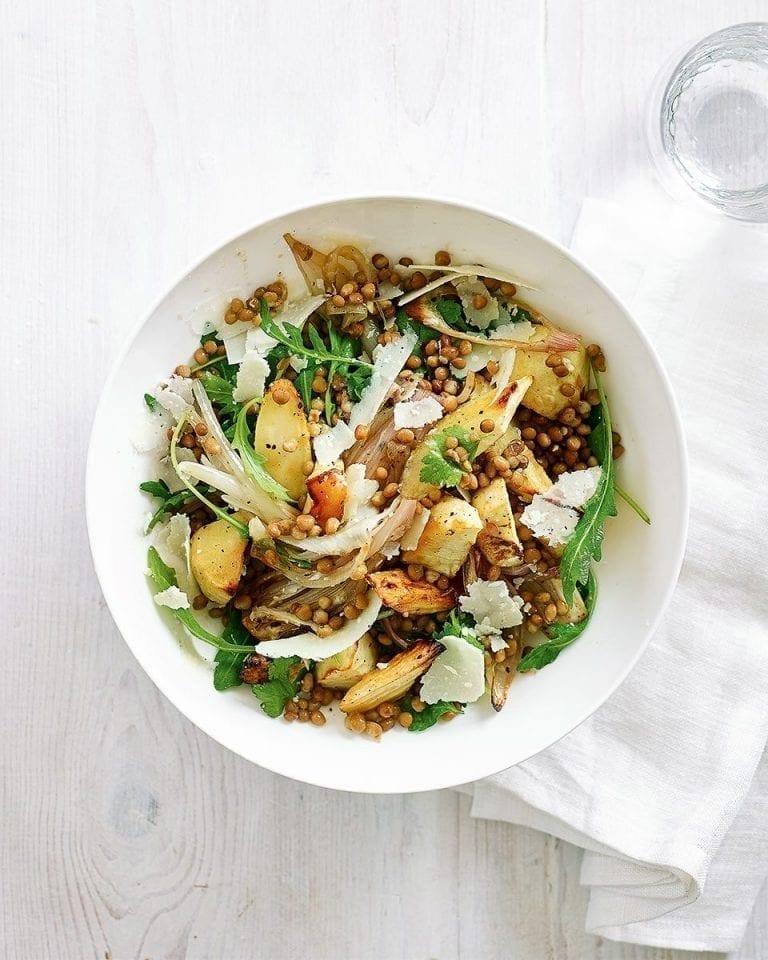 Easy roasted shallot and parsnip lentil salad
