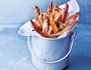 Maple, parmesan and rosemary sweet potato chips