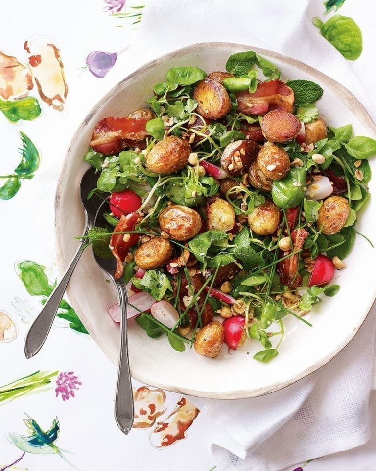 Roast jersey royal, spring herb, hazelnut and bacon salad with lemon brown butter dressing