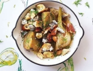 Sherry-braised fennel with pretzel crumbs and goat's cheese