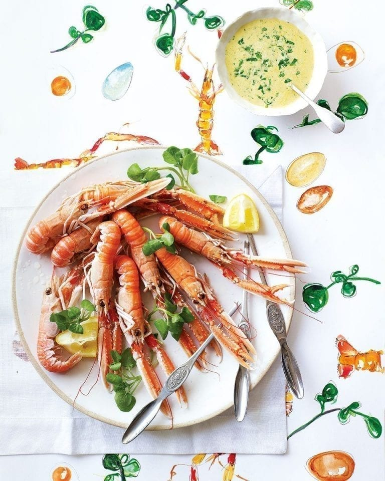 Langoustines with watercress and pastis hollandaise