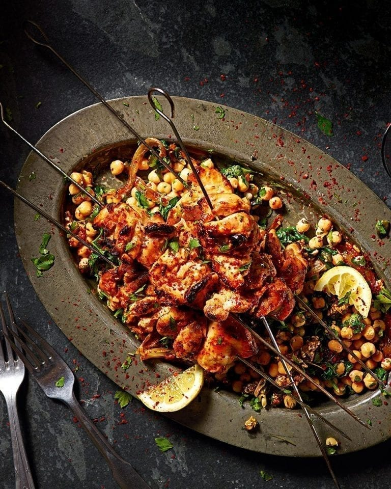 Chilli-marinated chicken kebabs with sweet shallot and chickpea salad