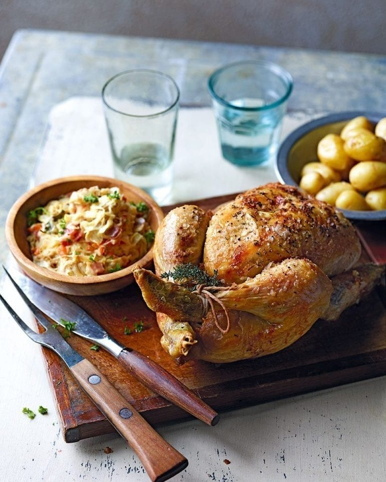 Roast chicken with creamy sauerkraut