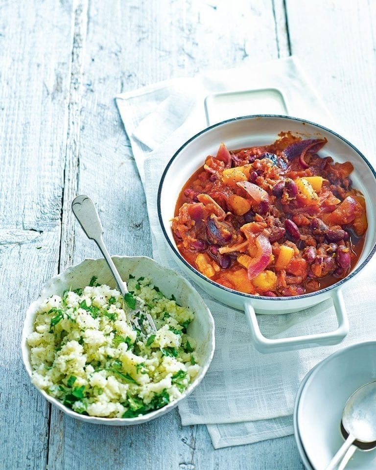 Quick butternut and bean stew with cauliflower 'rice'