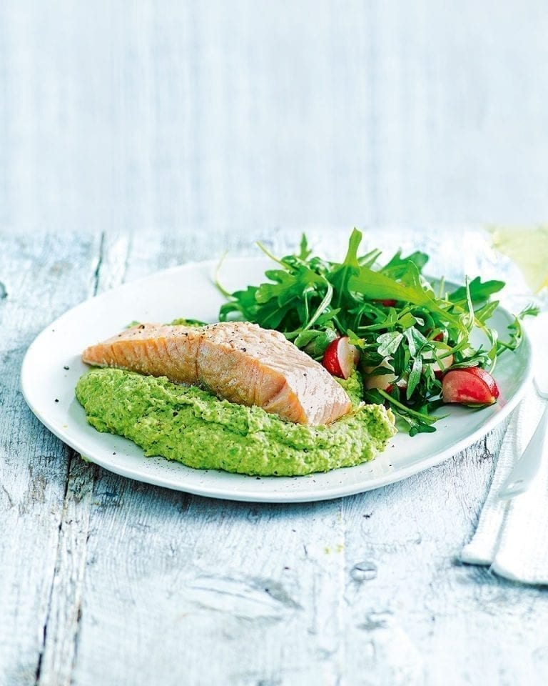 Easy baked salmon with pea and mint houmous