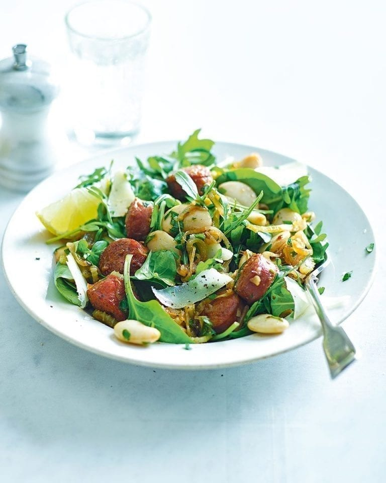Quick warm butter bean salad with chorizo