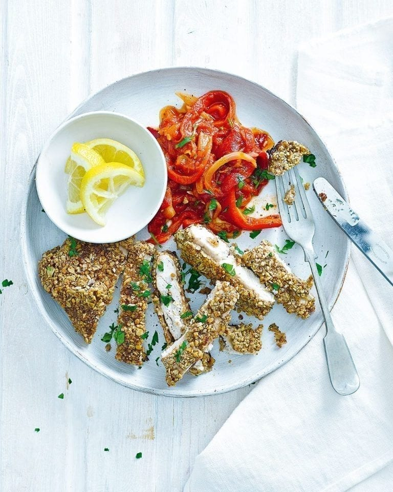Easy walnut and oat crusted chicken with peperonata