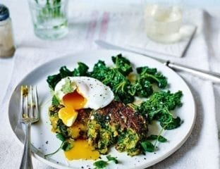 Spiced spinach and potato cakes with poached eggs and stir-fried kale