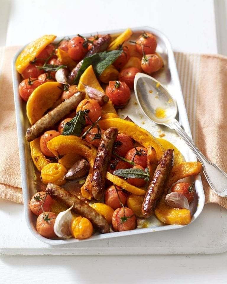 Sticky baked tomatoes, sausages and squash