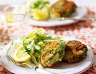 Smoked salmon and dill fishcakes with chicory