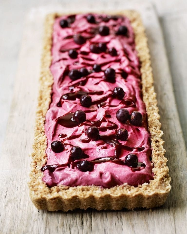 Blackcurrant, lime and coconut cheesecake slice