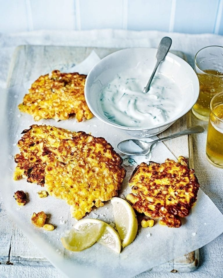 Smoky sweetcorn fritters with tarragon yogurt