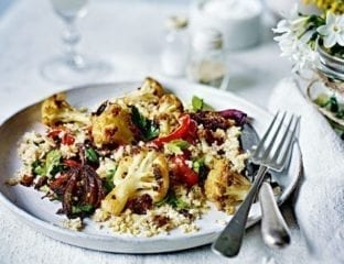 Spiced roast cauliflower with barley couscous