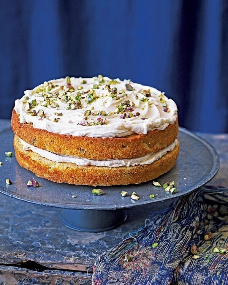 Chetna Makan's pistachio, cardamom and white chocolate cake