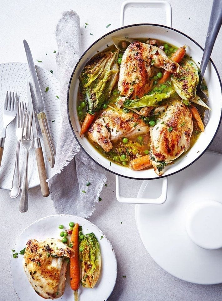 Garlic and herb buttered chicken with braised lettuce