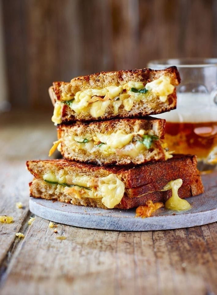 Cheddar, pickled mushroom and wild garlic toastie