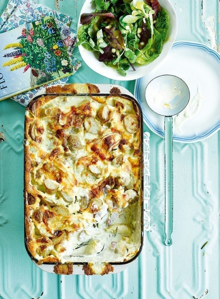 Slow-cooked smoky bacon tartiflette