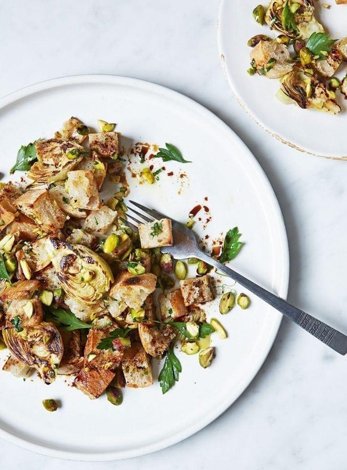 Pistachio and artichoke panzanella