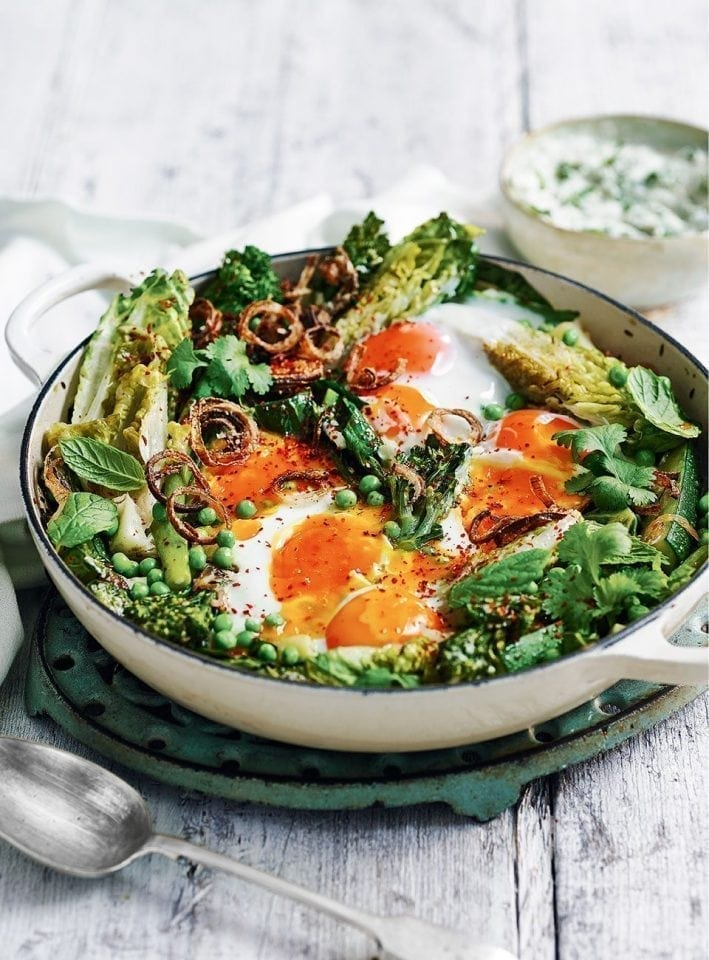 Green shakshuka with brown butter yogurt