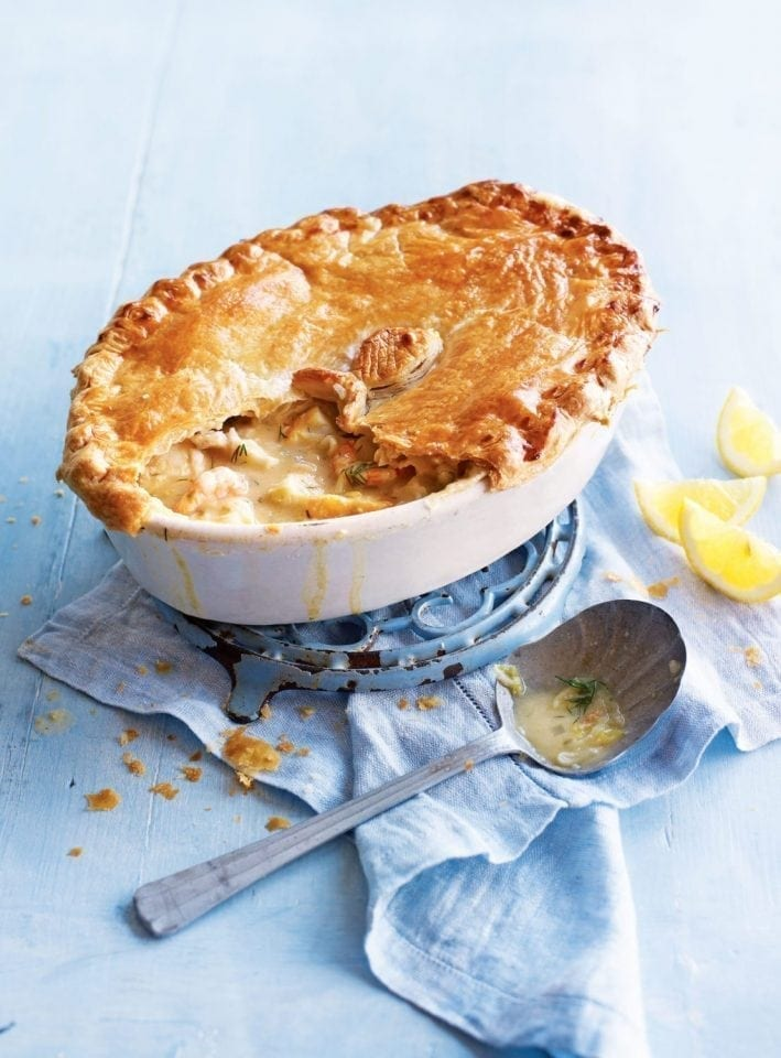 Caper, lemon and dill fish pie with puff pastry top