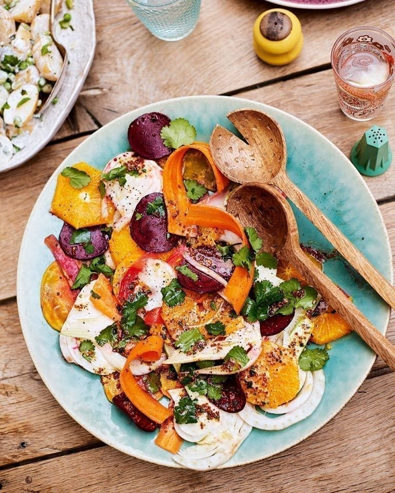 Carrot, beetroot and fennel salad