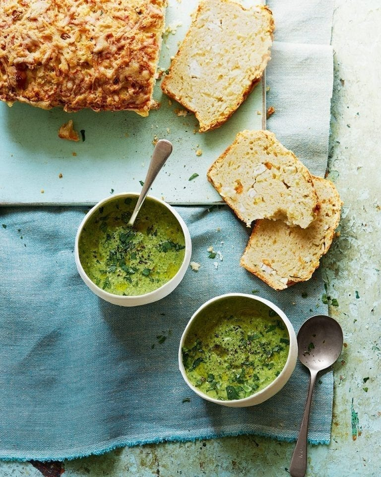 Herb and almond soup with cheese muffin loaf