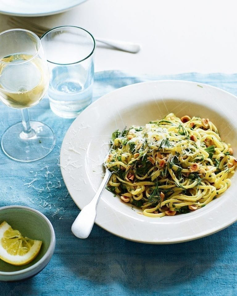 Linguine with saffron, roasted garlic, herb butter and hazelnuts