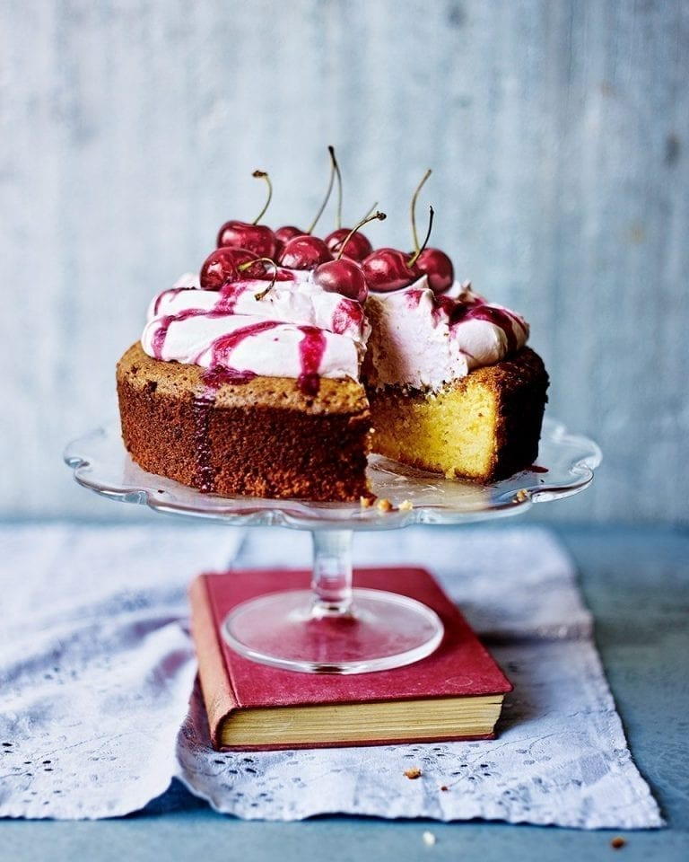 Elderflower, lemon and cherry cream flourless cake