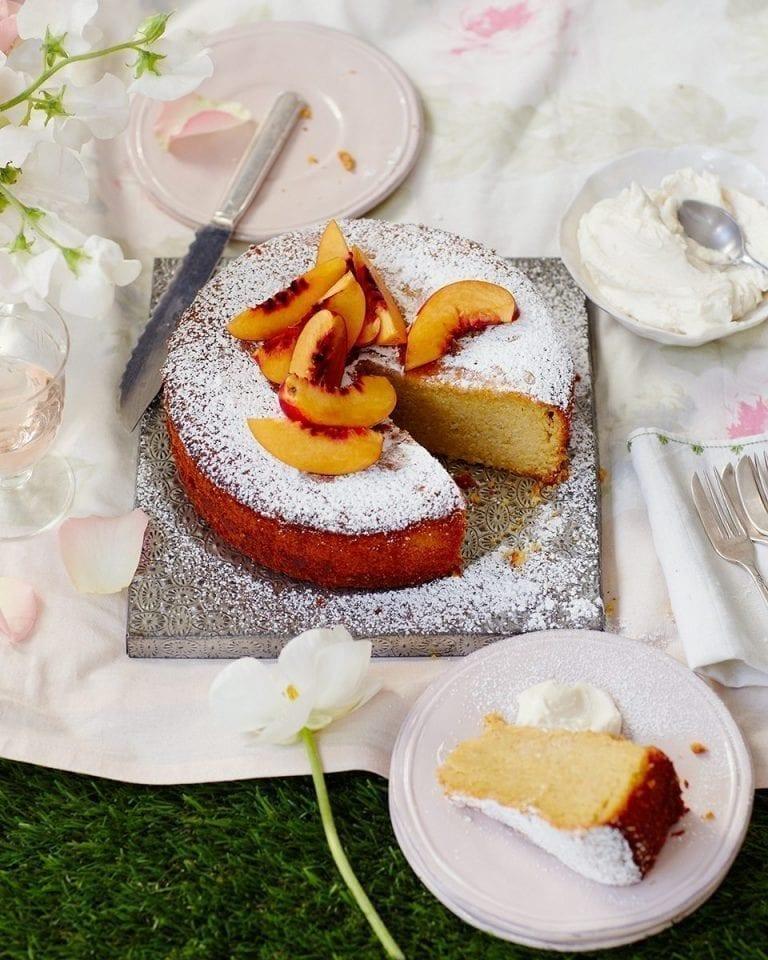 Nectarine and marsala polenta cake with marsala mascarpone