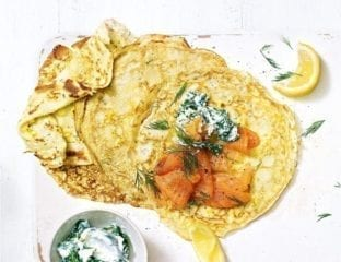 Sweetcorn pancakes with smoked salmon and lemon and spinach ricotta
