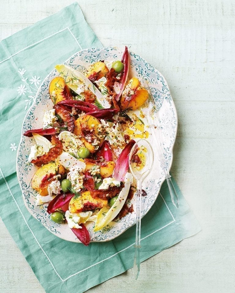Peach, crispy pancetta, olive and mozzarella salad