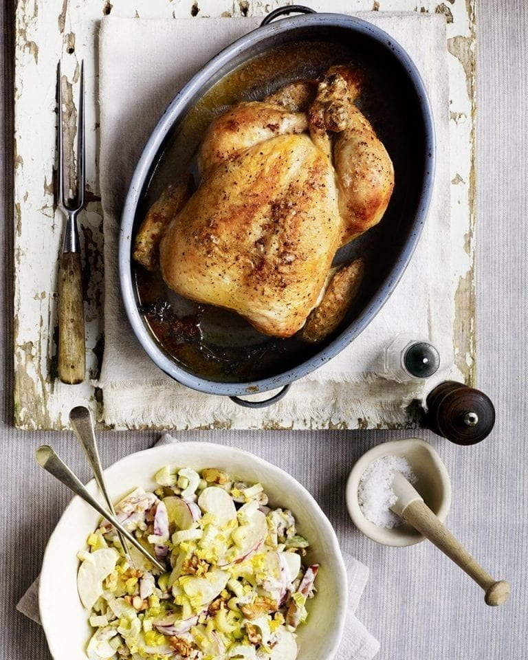 Brined roast chicken with a classic waldorf salad