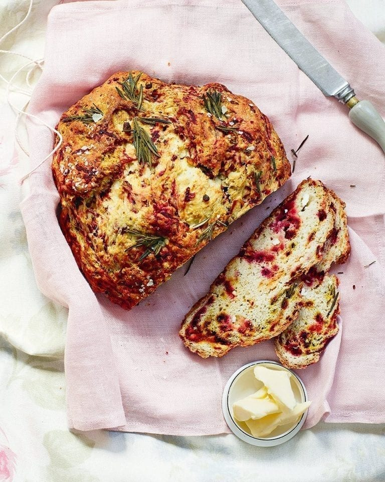 Beetroot and feta soda bread