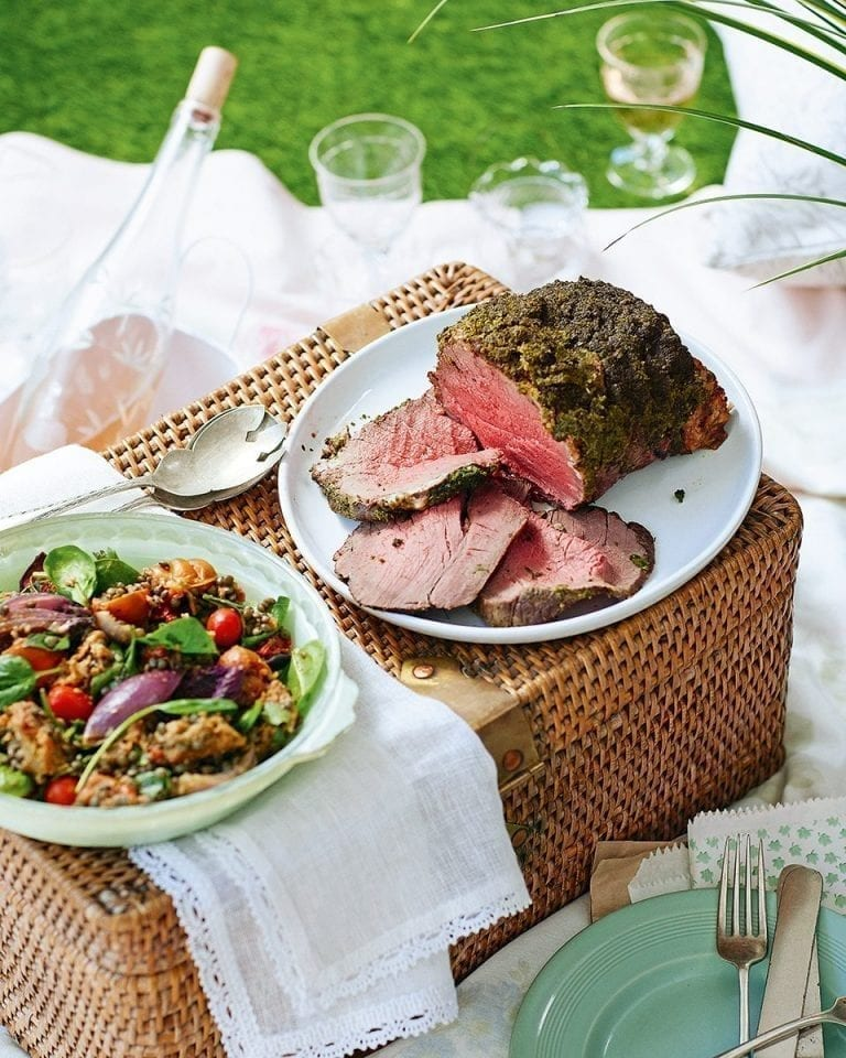 Pangrattato-topped beef with slow-roast tomato, garlic and basil lentil salad