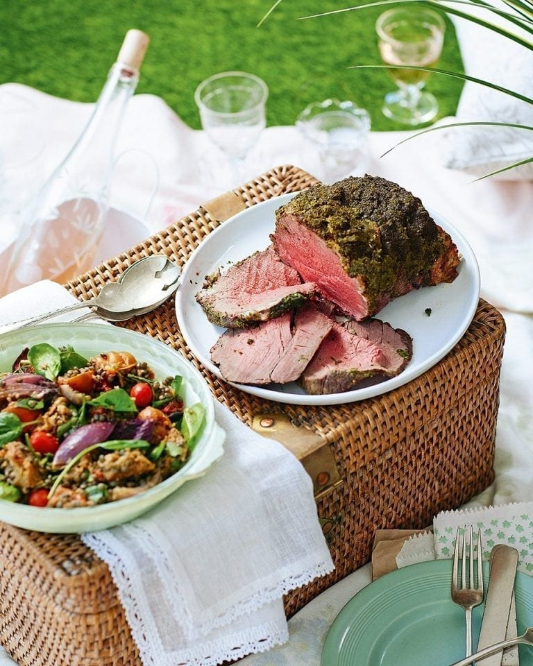 Pangrattato-topped beef with slow-roast tomato, garlic and basil lentil salad | delicious. magazine